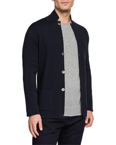 Men's Button-Front Lightweight Virgin Wool Knit Jacket