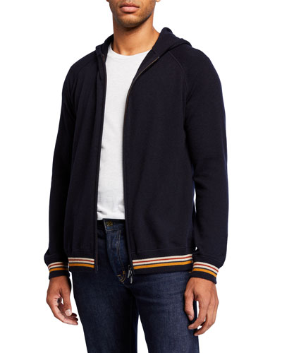 Men's Cashmere Zip Hoodie Sweater with Stripes