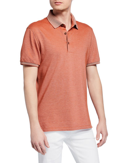 Ermenegildo Zegna T-shirts MEN'S COTTON JERSEY POLO SHIRT, ORANGE