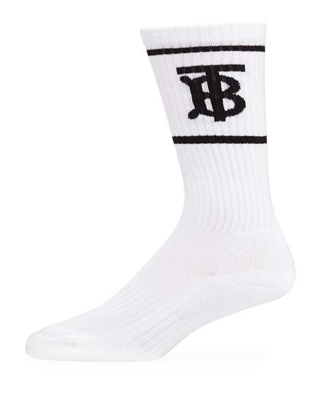Burberry Men's TB Logo Dual-Stripe Sport Socks