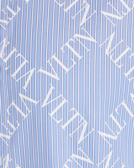 Men's Logo-Pattern Chambray Sport Shirt