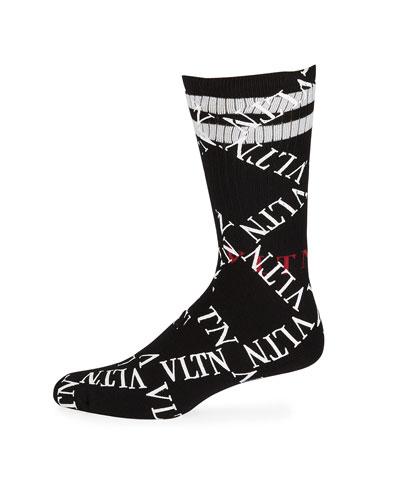 Men's VLTN Logo Socks with Stripe Trim