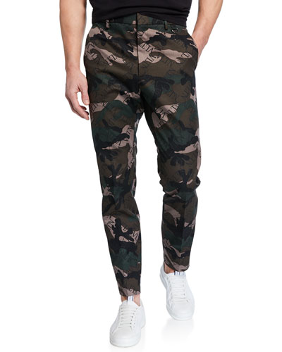 Men's Logo-Print Camo Tapered Trousers