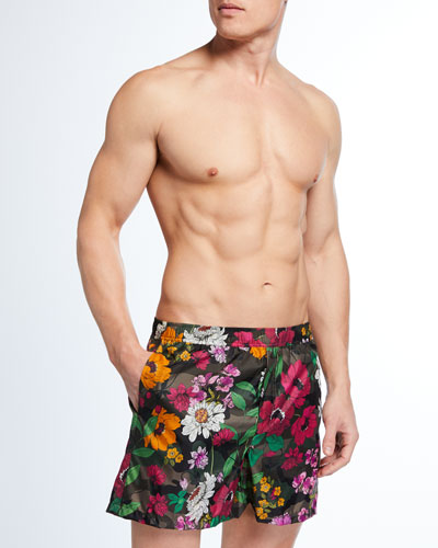 Men's Floral-Print Camo Swim Trunks