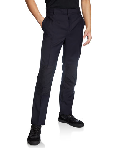 Men's Contrast-Knee Slim Trousers