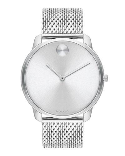 Men's Bold Thin Mesh-Bracelet Watch  Silver