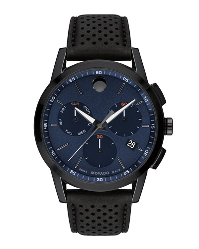 Men's Bold Sport Watch with Leather Strap