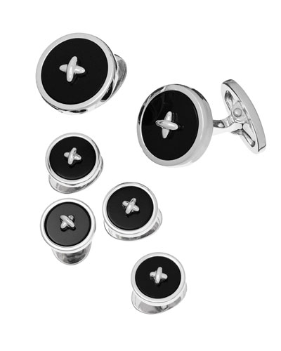 Classic Button Onyx Cufflinks & Studs Set