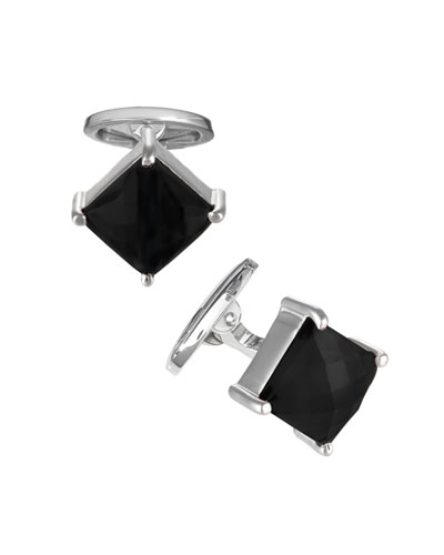 Men's Faceted Onyx Square Cufflinks