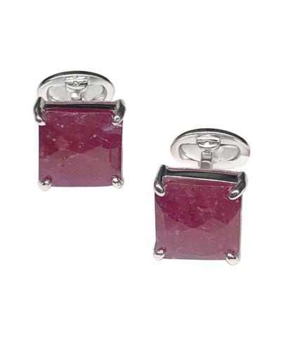 Faceted Pink Sapphire Cufflinks