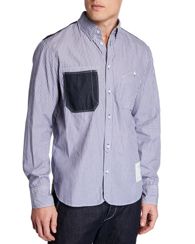 Men's Levine Chambray Trim Striped Sport Shirt