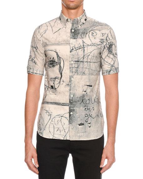 Alexander McQueen Men's Sketch Graphic Short-Sleeve Sport Shirt