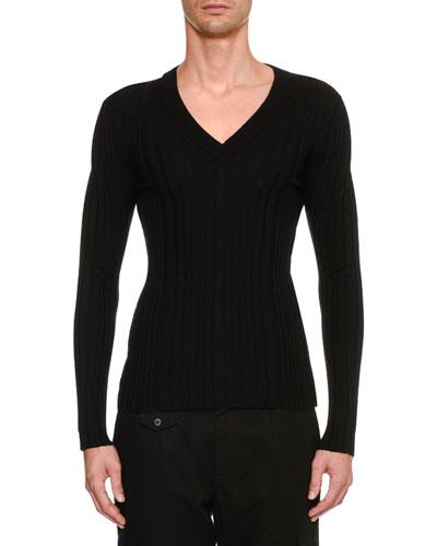Men's Knit V Neck Sweater