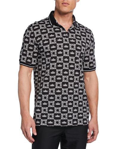 Men's Graphic Logo-Pattern Polo Shirt