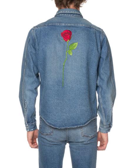 8a254a7d65d Balenciaga Men's Shrunken Denim Shirt with Rose
