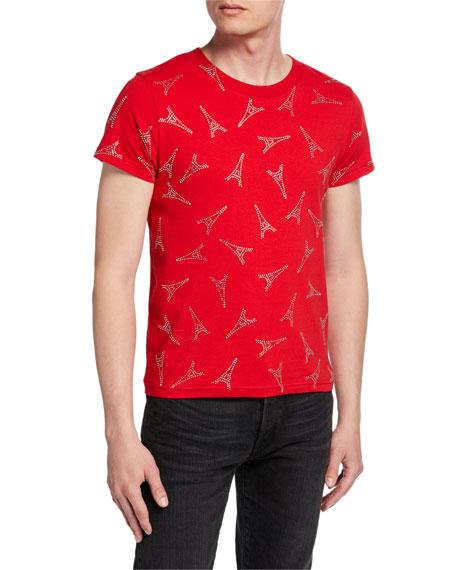 Balenciaga Men's Eiffel Tower Short-Sleeve Shrunken T-Shirt