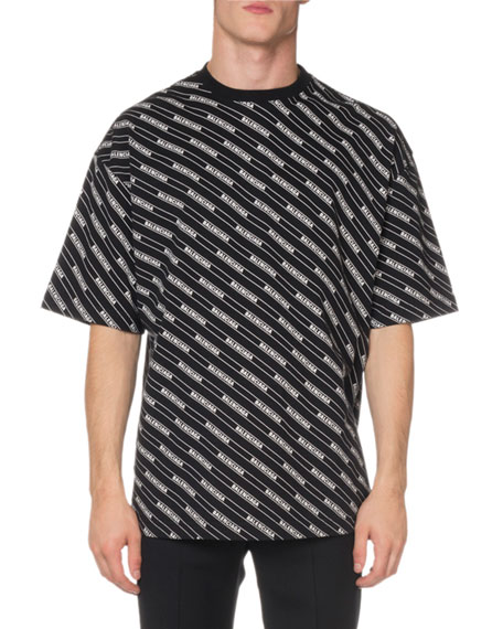 Balenciaga Men's Short-Sleeve Allover Stripe T-Shirt