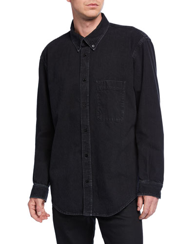 Men's Washed Denim Logo-Back Sport Shirt