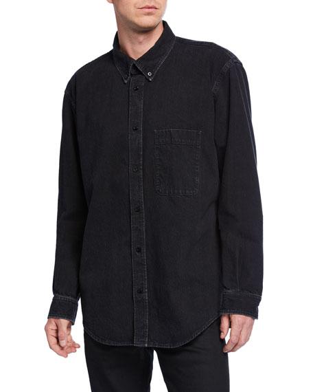 Balenciaga Men's Washed Denim Logo-Back Sport Shirt