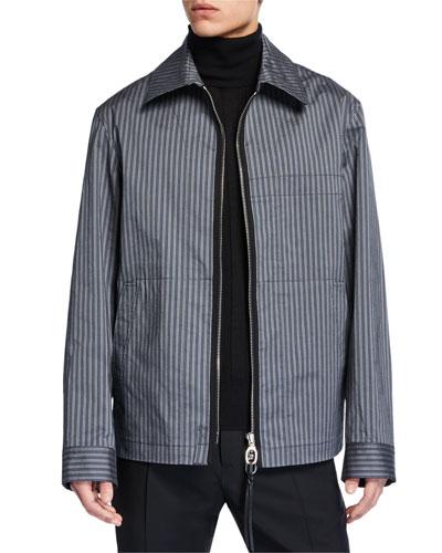 Men's Striped Zip-Front Jacket