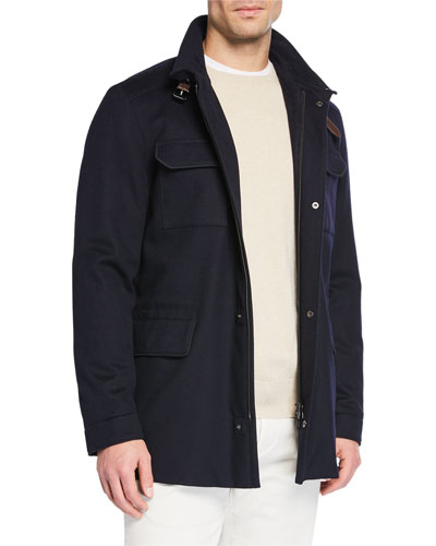 New Traveler Cashmere Stretch Storm System® Jacket  Flannel Melange