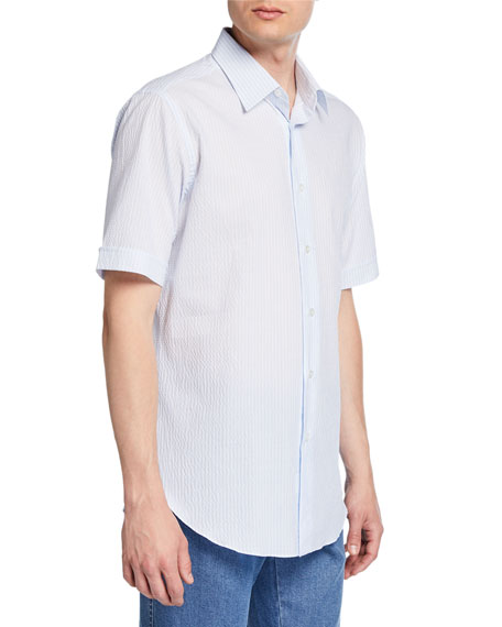 Men's Pinstriped Seersucker Short-Sleeve Sport Shirt
