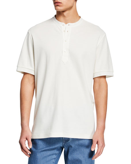 Brioni Shorts MEN'S PIQUE SHORT-SLEEVE HENLEY SHIRT