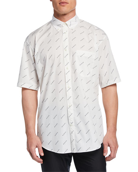 Balenciaga Men's Diagonal Logo Short-Sleeve Sport Shirt