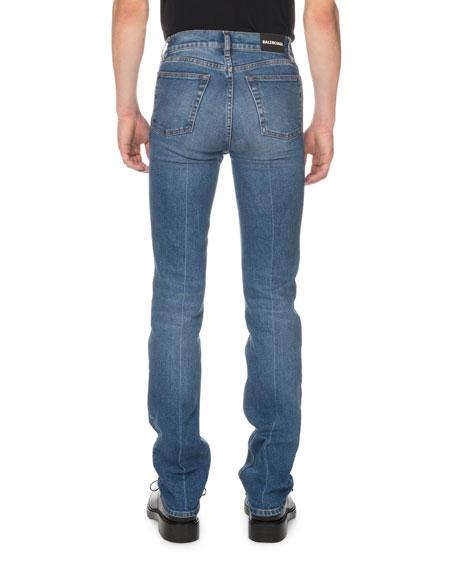 Men's Fitted 5-Pocket Distressed-Hem Jeans