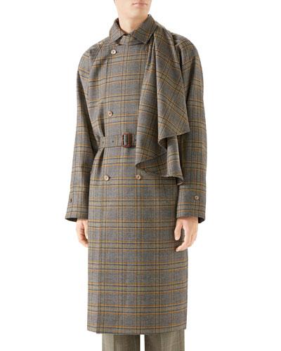 Men's Glen Plaid Overcoat w/ Removable Scarf