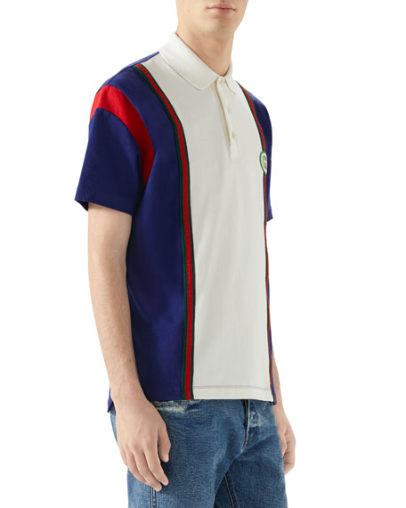 Men's Vintage Colorblock Polo Shirt with Logo Patch