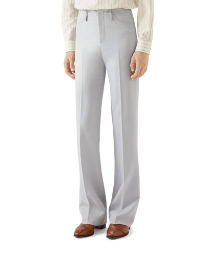 Men's Solid Boot-Cut Trousers