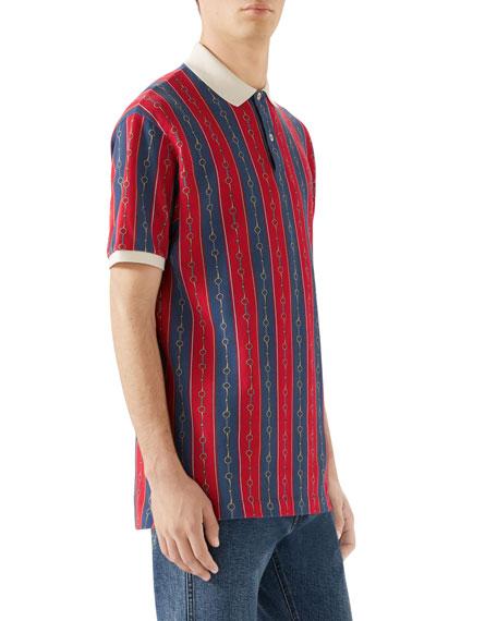 4bc12584ef9d Gucci Men's Chain-Stripe Pique Polo Shirt