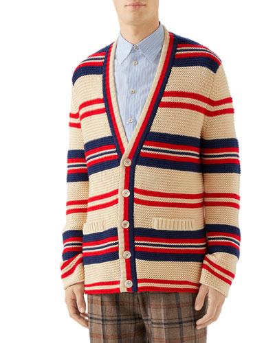Men's Pour La Cote d'Azur Striped Cardigan