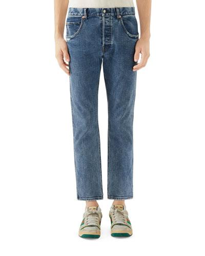 Men's Distressed Cropped Denim Jeans
