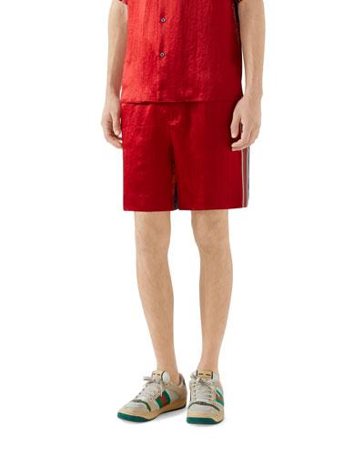 Men's Silk-Front Chain Striped Shorts