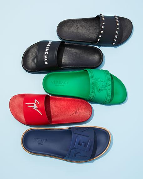 10bef2ddd40f7 Versace Men s Medusa   Greek Key Shower Slide Sandals