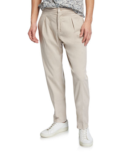 Men's Pleated Cotton/Silk Twill Pants