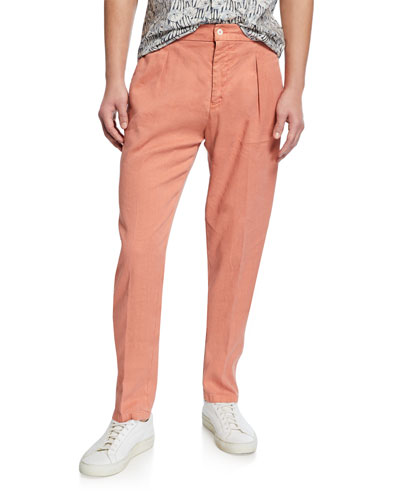 Men's Linen-Cotton Pleated Pants  Orange