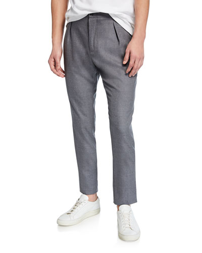 Men's Heathered Wool Pleated Pants  Gray