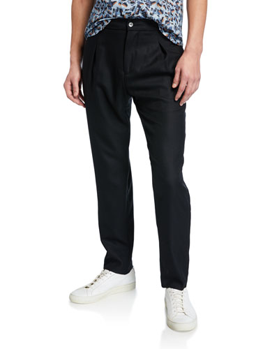 Men's Wool Pleated Pants  Black
