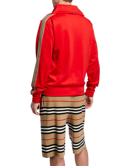 Burberry Icon Stripe Detail Funnel Neck Track Top In Red