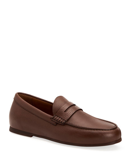 Aquatalia Loafers MEN'S KIRK PEBBLED CALF LEATHER PENNY LOAFERS