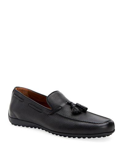 Men's Richard Pebbled Leather Tassel Loafers