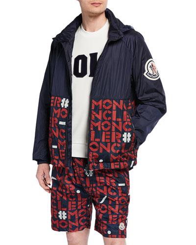 Men's Octagon Logo-Print Zip-Front Jacket