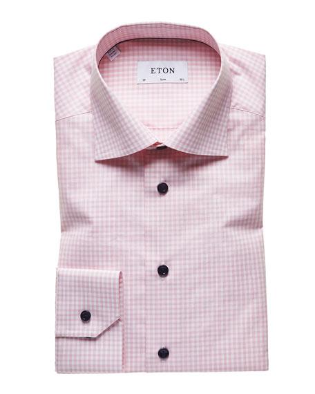 Eton Dresses MEN'S LIGHT GINGHAM CHECK SLIM-FIT DRESS SHIRT