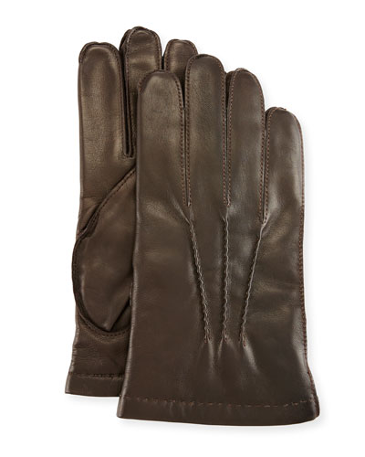 3-Point Napa Leather Gloves w/Cashmere Lining