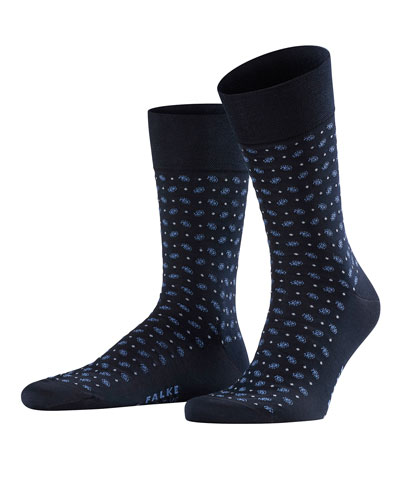 Men's Jabot Dot-Pattern Socks