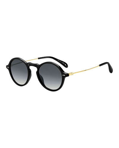 Men's Round Plastic & Metal Sunglasses