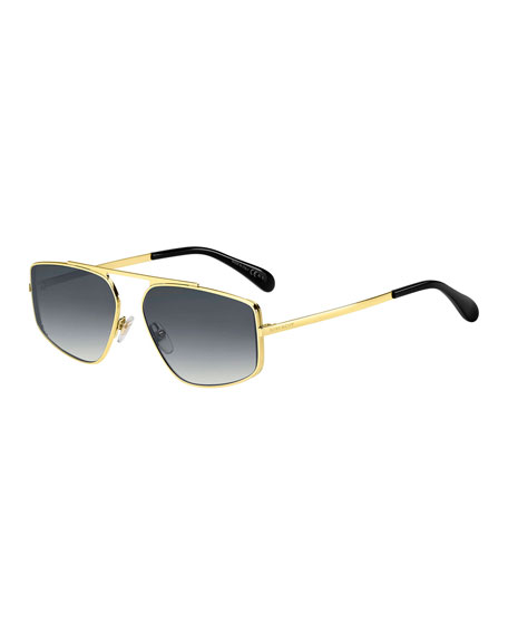Men's Rectangular Mirrored-Lens Metal Sunglasses